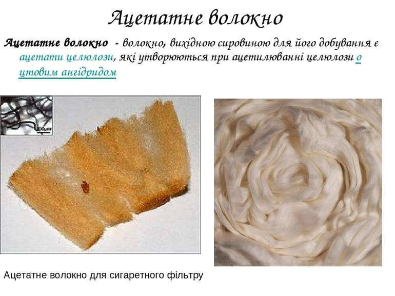 Ацетатне волокно Ацетатне волокно - волокно, вихідною сировиною для його добу...