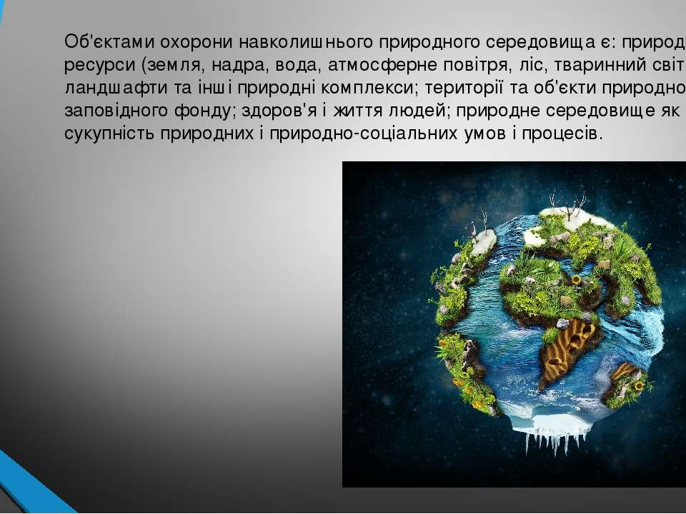 Об'єктами охорони навколишнього природного середовища є: природні ресурси (зе...
