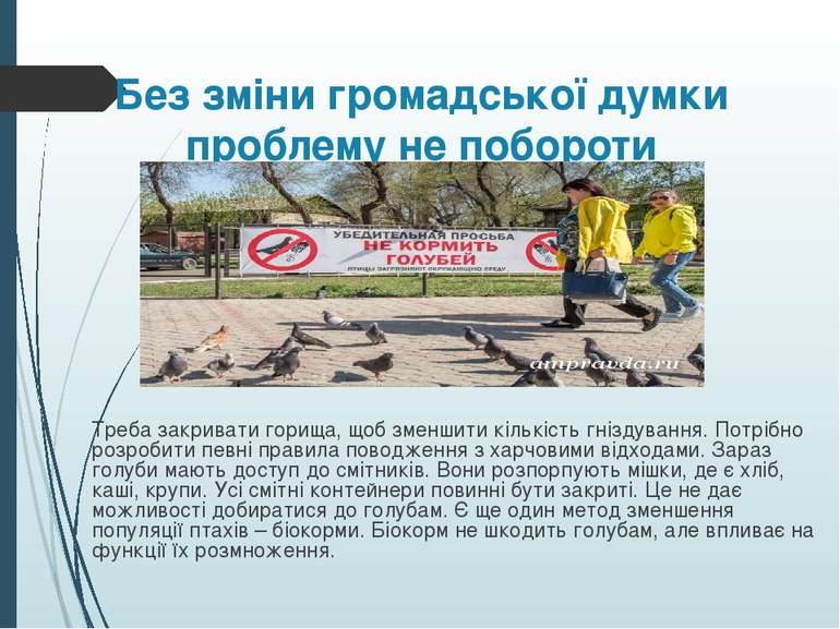 Без зміни громадської думки проблему не побороти Треба закривати горища, щоб ...