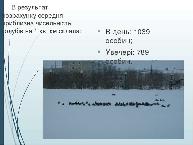 В день: 1039 особин; Увечері: 789 особин. В результаті розрахунку середня при...