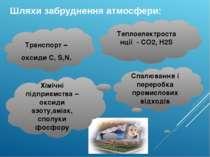 Шляхи забруднення атмосфери: Теплоелектростанції - СО2, H2S Спалювання і пере...