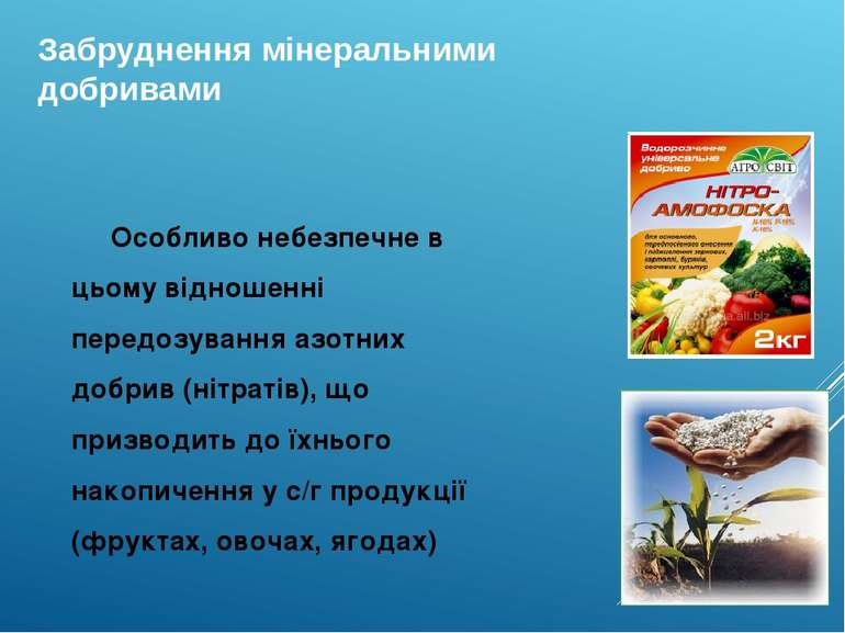 Забруднення мінеральними добривами Особливо небезпечне в цьому відношенні пер...