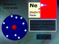 е- = 10 Кількість електронів дорівнює порядковому номеру хімічного елемента К...