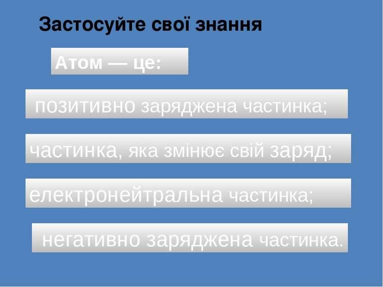 Застосуйте свої знання Атом — це: позитивно заряджена частинка; електронейтра...