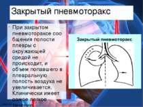 Закрытый пневмоторакс Призакрытом пневмотораксесообщения полости плевры с о...