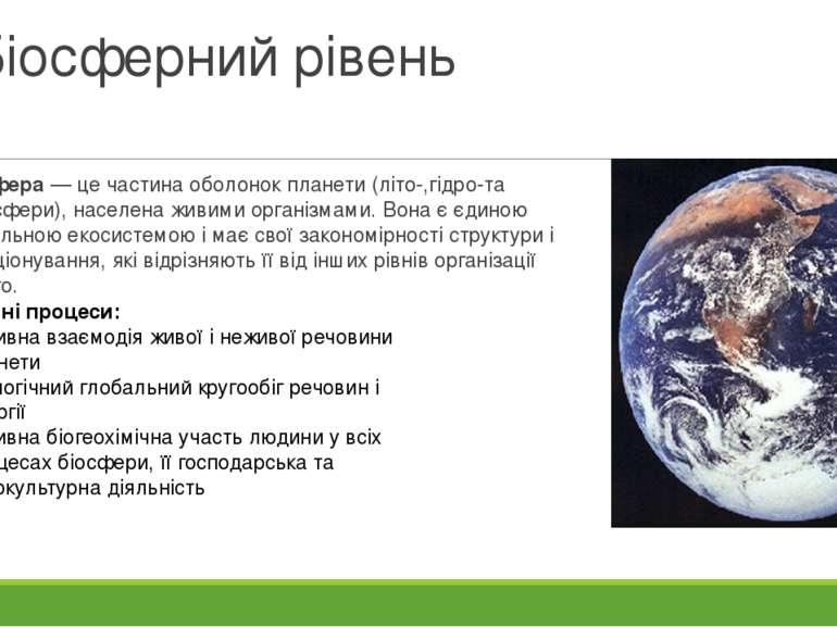 Біосферний рівень Біосфера — це частина оболонок планети (літо-,гідро-та атмо...