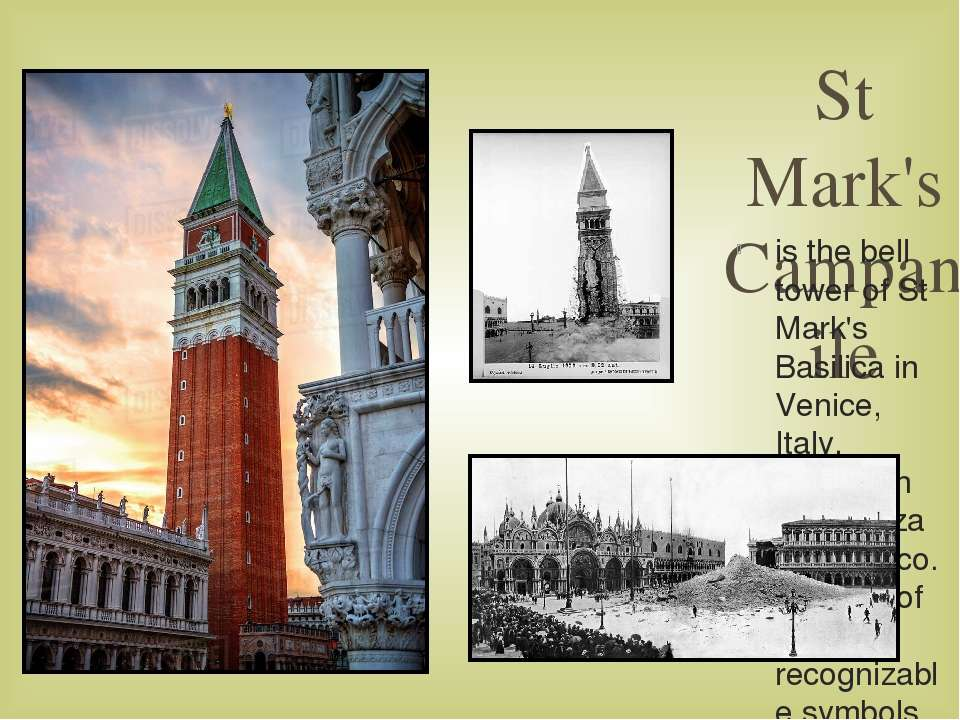 St Mark's Campanile is the bell tower of St Mark's Basilica in Venice, Italy,...