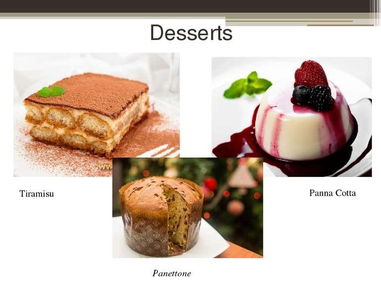 Desserts Tiramisu Panna Cotta Panettone