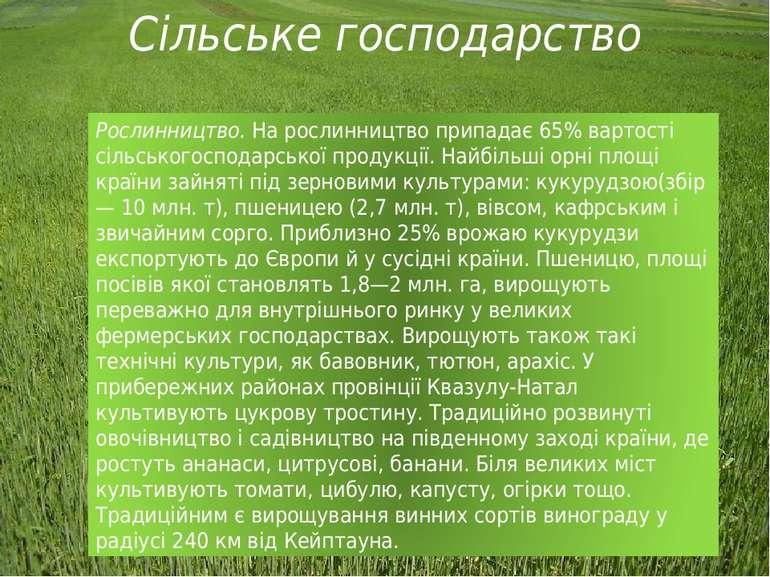 Сільське господарство Рослинництво. На рослинництво припадає 65% вартості сіл...