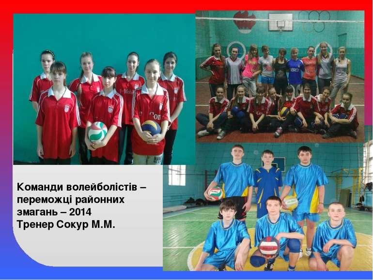 Команди волейболістів – переможці районних змагань – 2014 Тренер Сокур М.М.