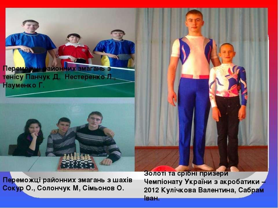 Переможці районних змагань з шахів Сокур О., Солончук М, Сімьонов О. Переможц...