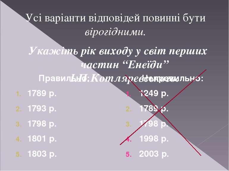 Правильно: 1789 р. 1793 р. 1798 р. 1801 р. 1803 р. Укажіть рік виходу у світ ...