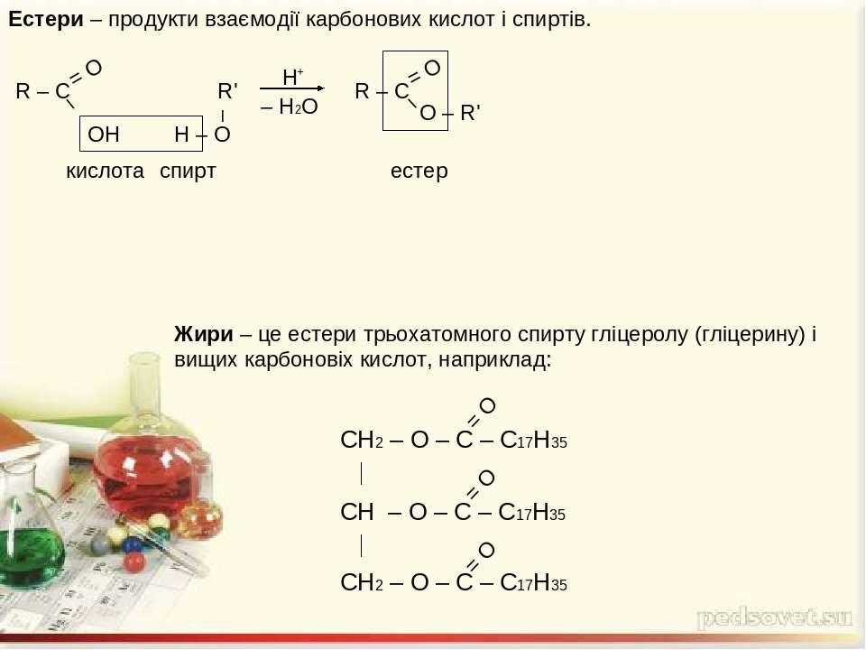 Естери – продукти взаємодії карбонових кислот і спиртів. Жири – це естери трь...