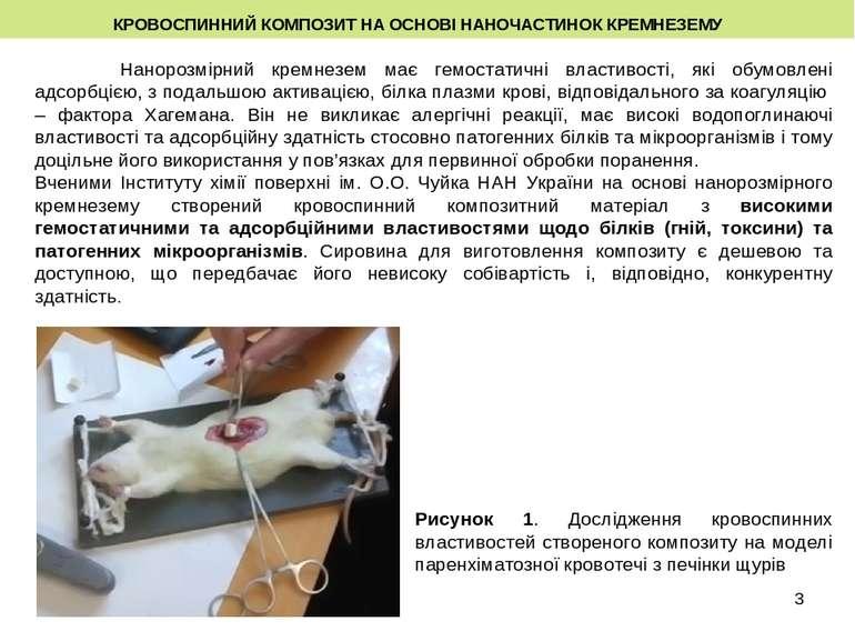 * КРОВОСПИННИЙ КОМПОЗИТ НА ОСНОВІ НАНОЧАСТИНОК КРЕМНЕЗЕМУ Нанорозмірний кремн...