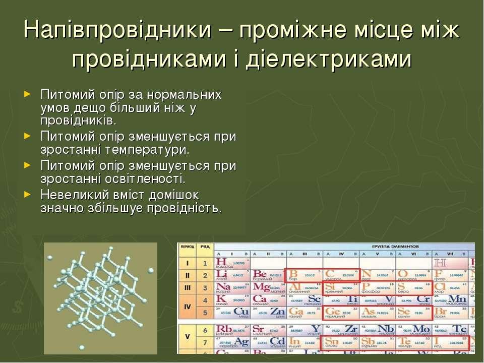 Напівпровідники – проміжне місце між провідниками і діелектриками Питомий опі...