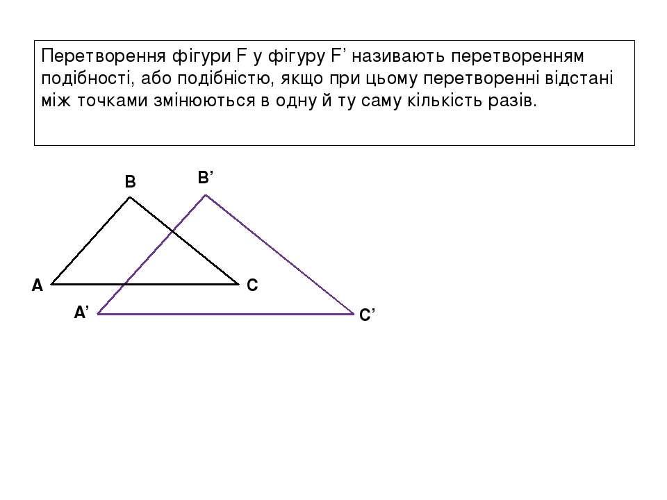 Перетворення фігури F у фігуру F' називають перетворенням подібності, або под...