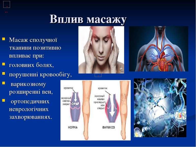 Вплив масажу Масаж сполучної тканини позитивно впливає при: головних болях, п...