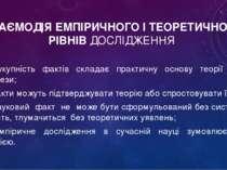 ВЗАЄМОДІЯ ЕМПІРИЧНОГО І ТЕОРЕТИЧНОГО РІВНІВ ДОСЛІДЖЕННЯ – сукупність фактів с...