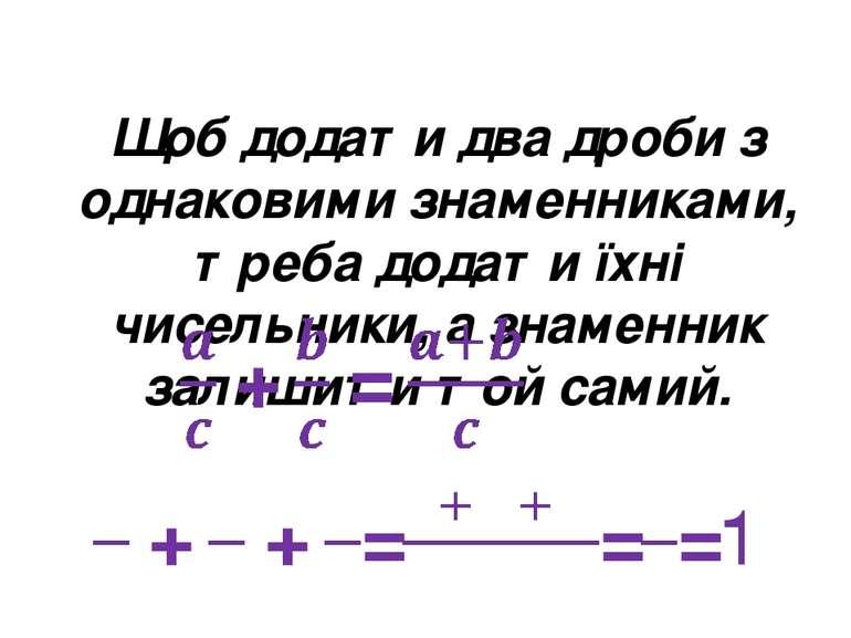 Щоб додати два дроби з однаковими знаменниками, треба додати їхні чисельники,...