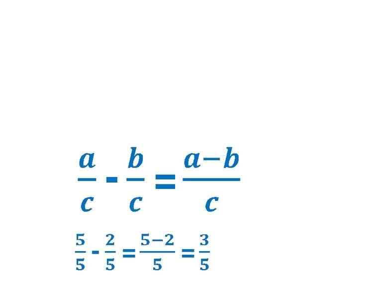 Щоб відняти два дроби з однаковими знаменниками, треба від чисельника зменшув...