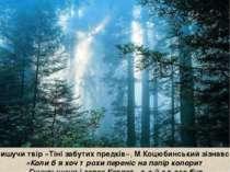 Пишучи твір«Тіні забутих предків»,М.Коцюбинський зізнався: «Колиб я хоч тр...