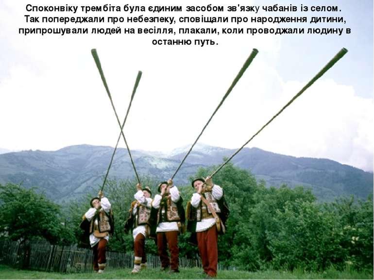 Споконвіку трембіта була єдиним засобом зв'язку чабанів із селом. Так поперед...