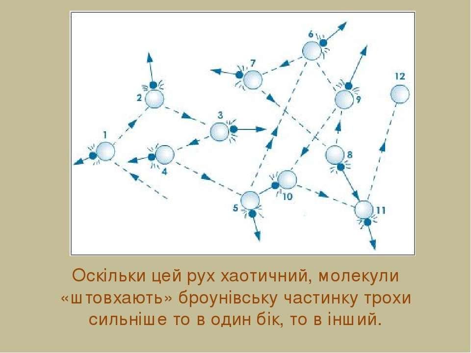 Оскільки цей рух хаотичний, молекули «штовхають» броунівську частинку трохи с...