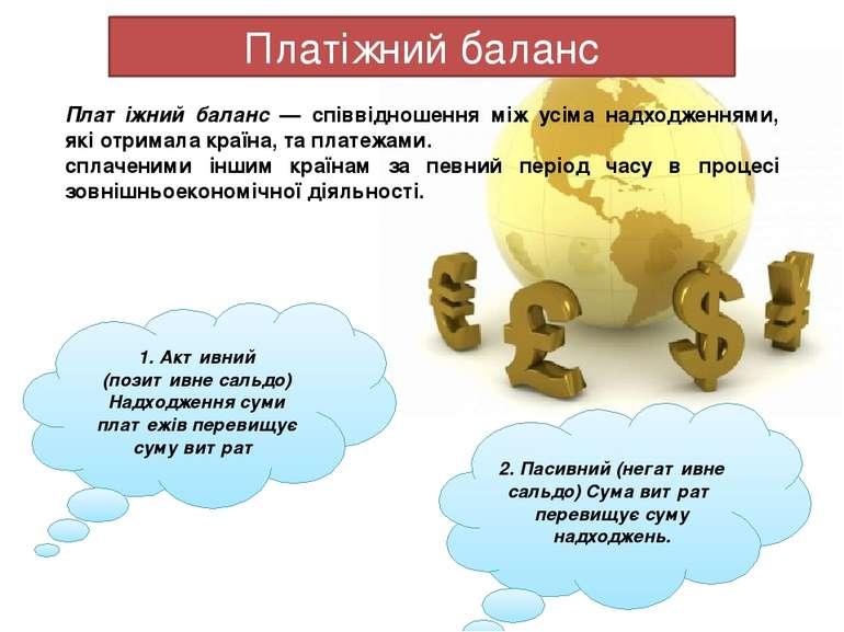 Платіжний баланс Платіжний баланс — співвідношення між усіма надходженнями, я...