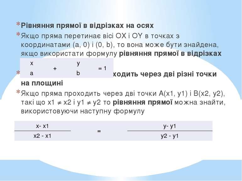 Рівняння прямої в відрізках на осях Якщо пряма перетинає вісі OX і OY в точка...