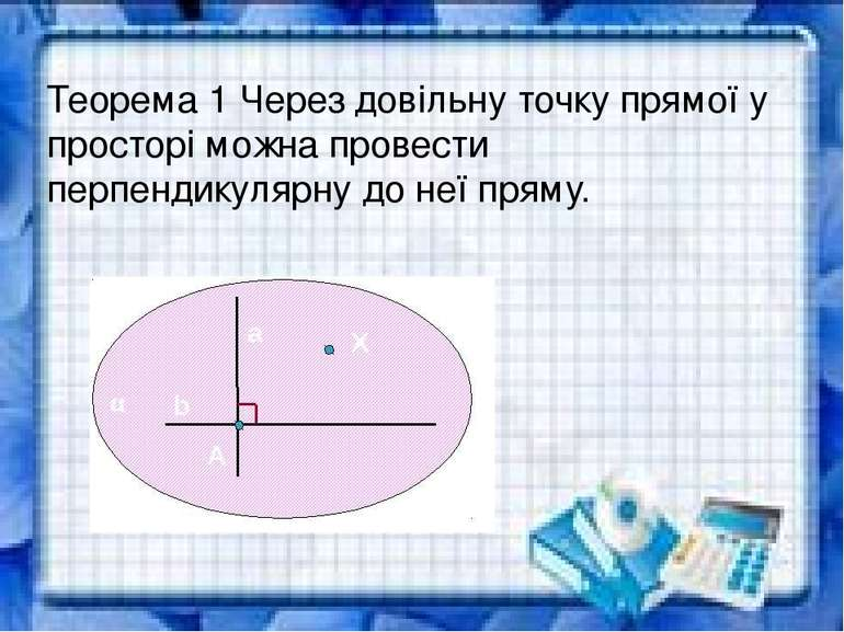 Теорема 1 Через довільну точку прямої у просторі можна провести перпендикуляр...