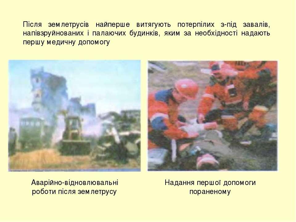 Після землетрусів найперше витягують потерпілих з-під завалів, напівзруйнован...