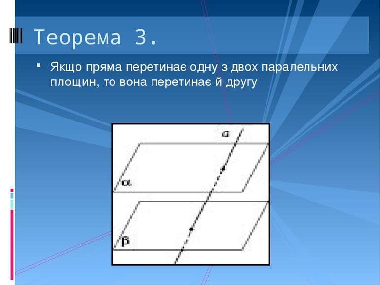 Якщо пряма перетинає одну з двох паралельних площин, то вона перетинає й друг...