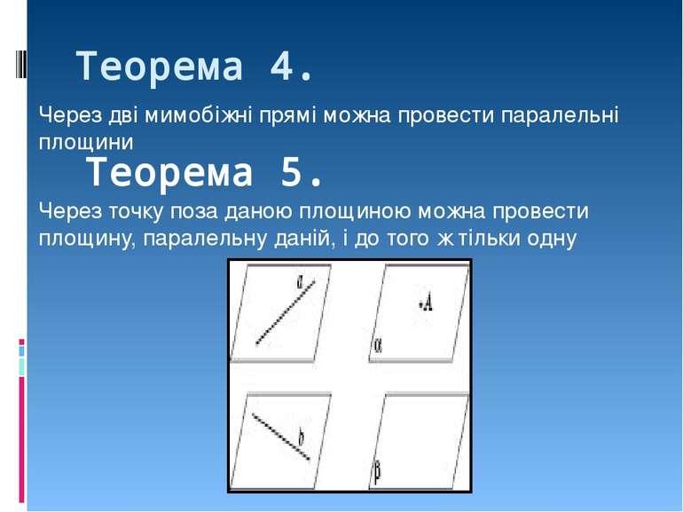 Теорема 4. Через дві мимобіжні прямі можна провести паралельні площини  Теор...
