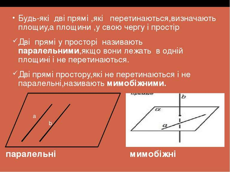 Будь-які дві прямі ,які перетинаються,визначають площиу,а площини ,у свою чер...