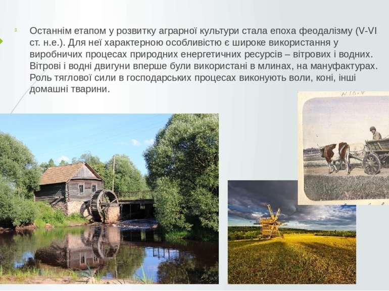 Останнім етапом у розвитку аграрної культури стала епоха феодалізму (V-VI ст....