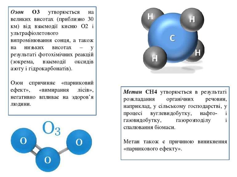 Озон О3 утворюється на великих висотах (приблизно 30 км) від взаємодії кисню ...