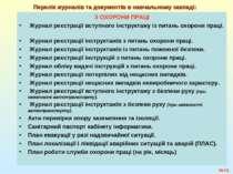 №* Перелік журналів та документів в навчальному закладі: З ОХОРОНИ ПРАЦІ Журн...