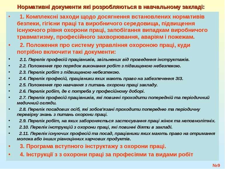 №* Нормативні документи які розробляються в навчальному закладі: 1. Комплексн...