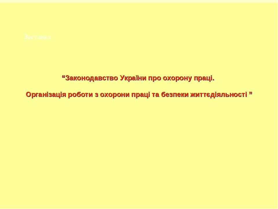 """Заставка """"Законодавство України про охорону праці. Організація роботи з охоро..."""