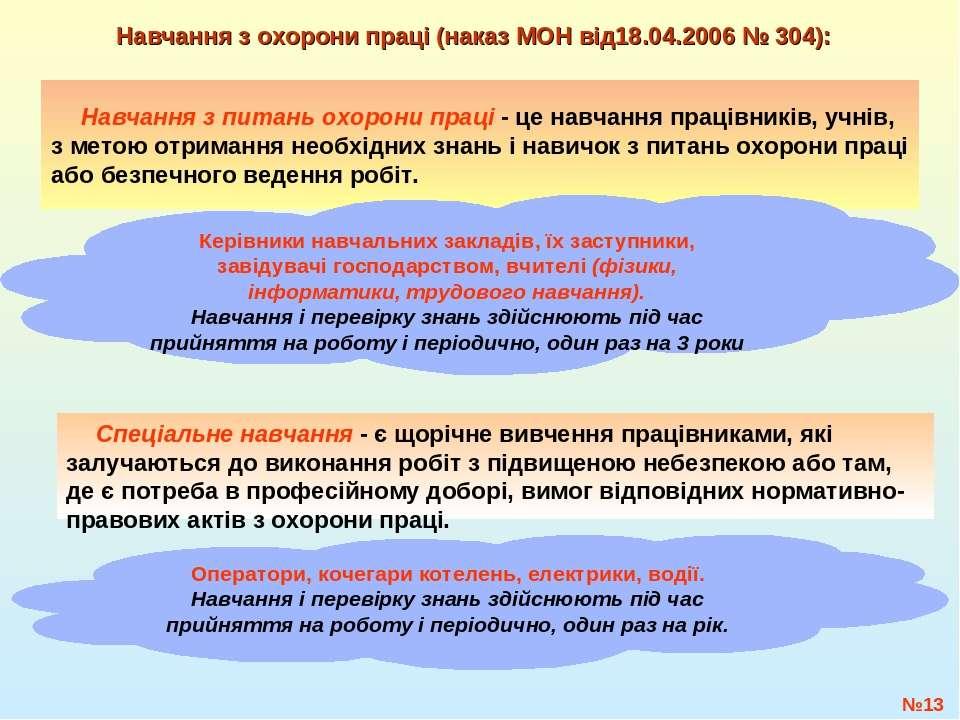 №* Навчання з охорони праці (наказ МОН від18.04.2006 № 304): Навчання з питан...