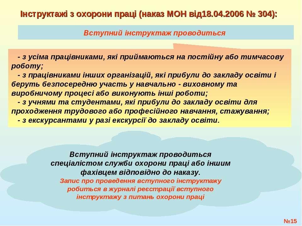 Вступний інструктаж проводиться №* Інструктажі з охорони праці (наказ МОН від...