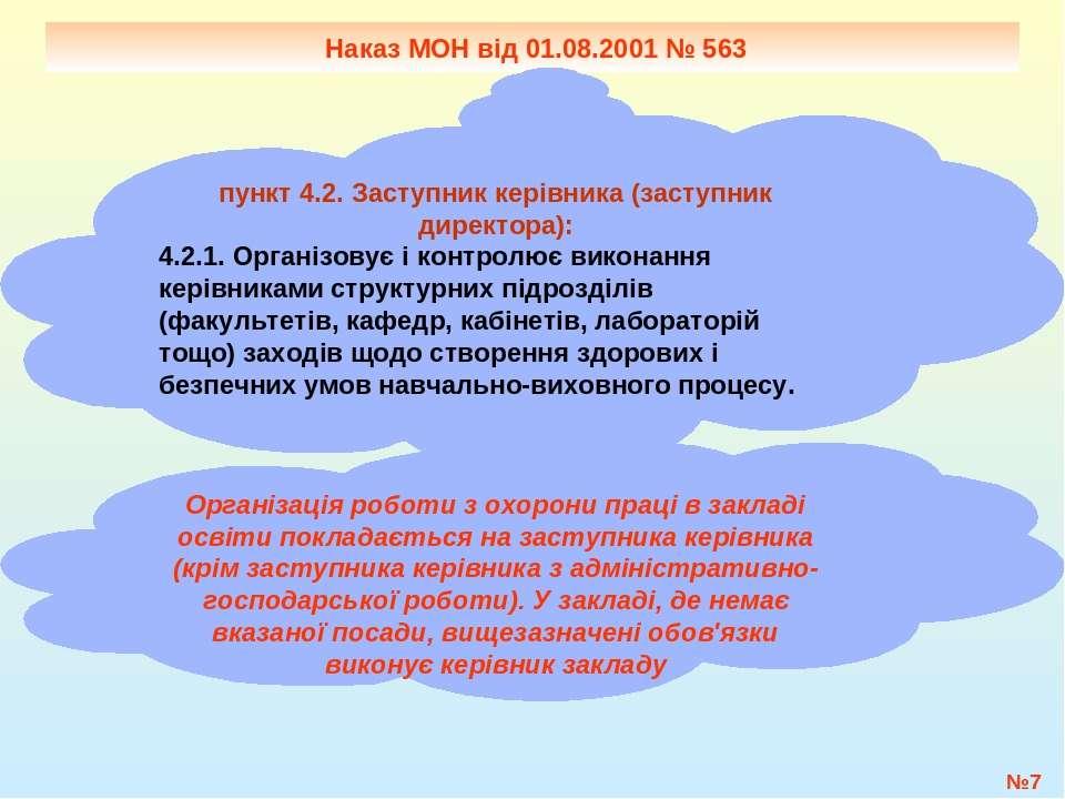 №* Наказ МОН від 01.08.2001 № 563 пункт 4.2. Заступник керівника (заступник д...