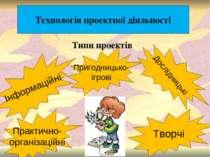 Технологія проектної діяльності Інформаційні Практично- організаційні Пригодн...