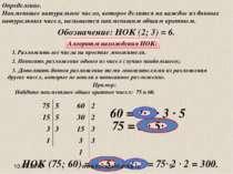 Обозначение: НОК (2; 3) = 6. Алгоритм нахождения НОК: Пример: Найдите наимень...