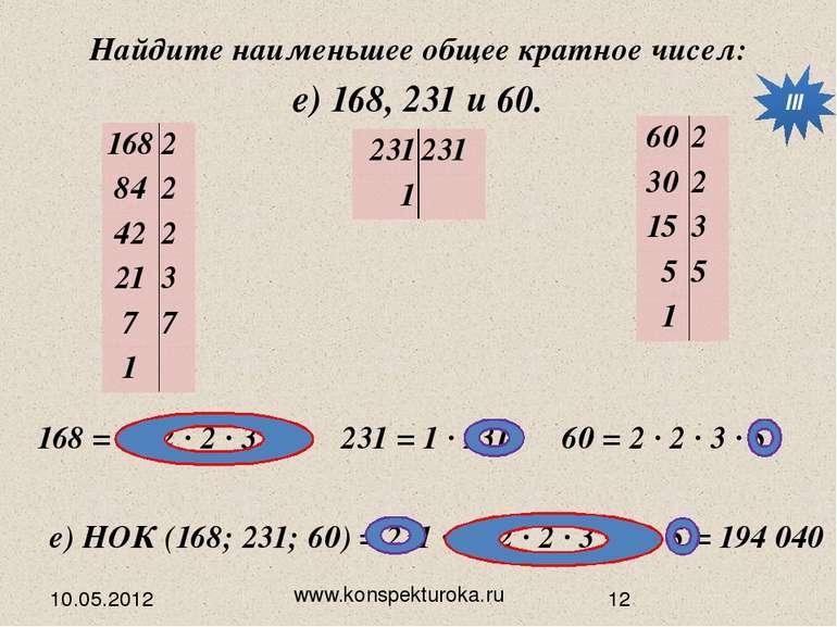 10.05.2012 www.konspekturoka.ru е) 168, 231 и 60. Найдите наименьшее общее кр...