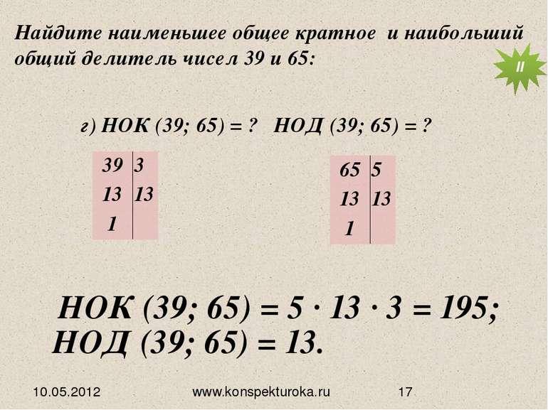 10.05.2012 www.konspekturoka.ru НОД (39; 65) = 13. Найдите наименьшее общее к...