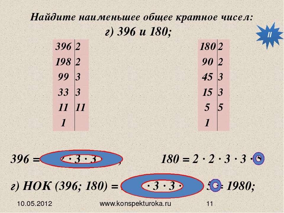 10.05.2012 www.konspekturoka.ru Найдите наименьшее общее кратное чисел: г) 39...