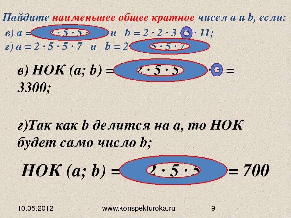 10.05.2012 www.konspekturoka.ru в) НОК (а; b) = 2 ∙ 2 ∙ 5 ∙ 5 ∙ 11 ∙ 3 = 3300...