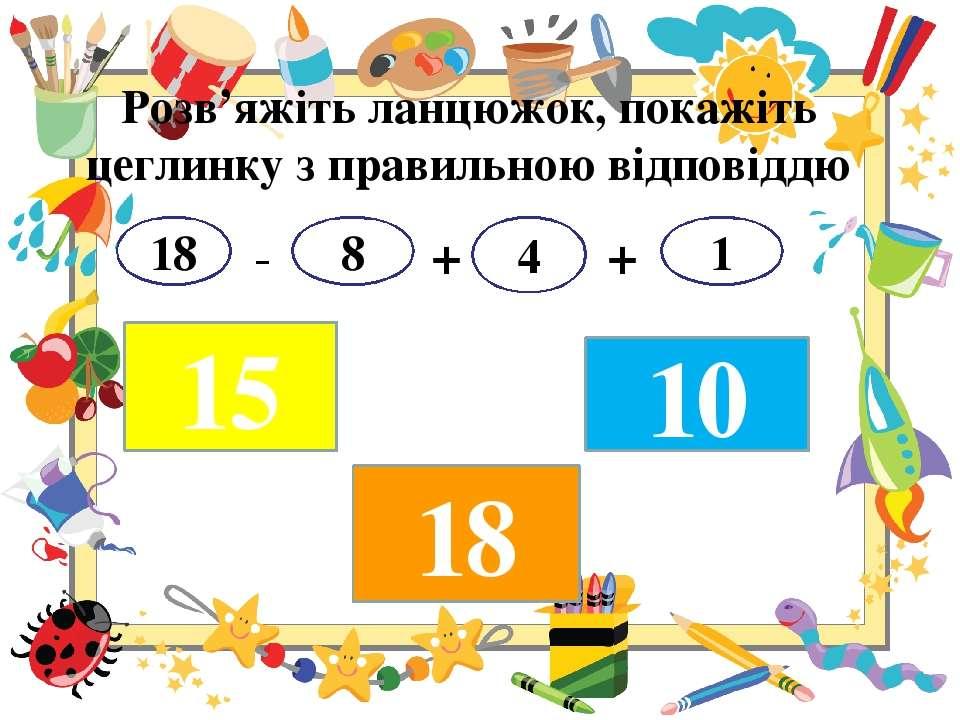 Розв'яжіть ланцюжок, покажіть цеглинку з правильною відповіддю - + + 18 8 4 1...