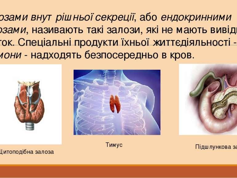 Залозами внутрішньої секреції, або ендокринними залозами, називають такі зало...